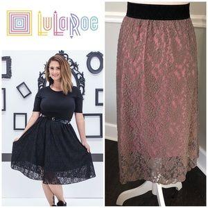 Lularoe NWT Lola Skirt Grey Lace Overlay, XXL